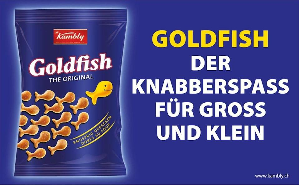 """Goldfish crackers, originally created by a Swiss firm, are marketed in Europe as """"nibbling fun for young and old."""""""