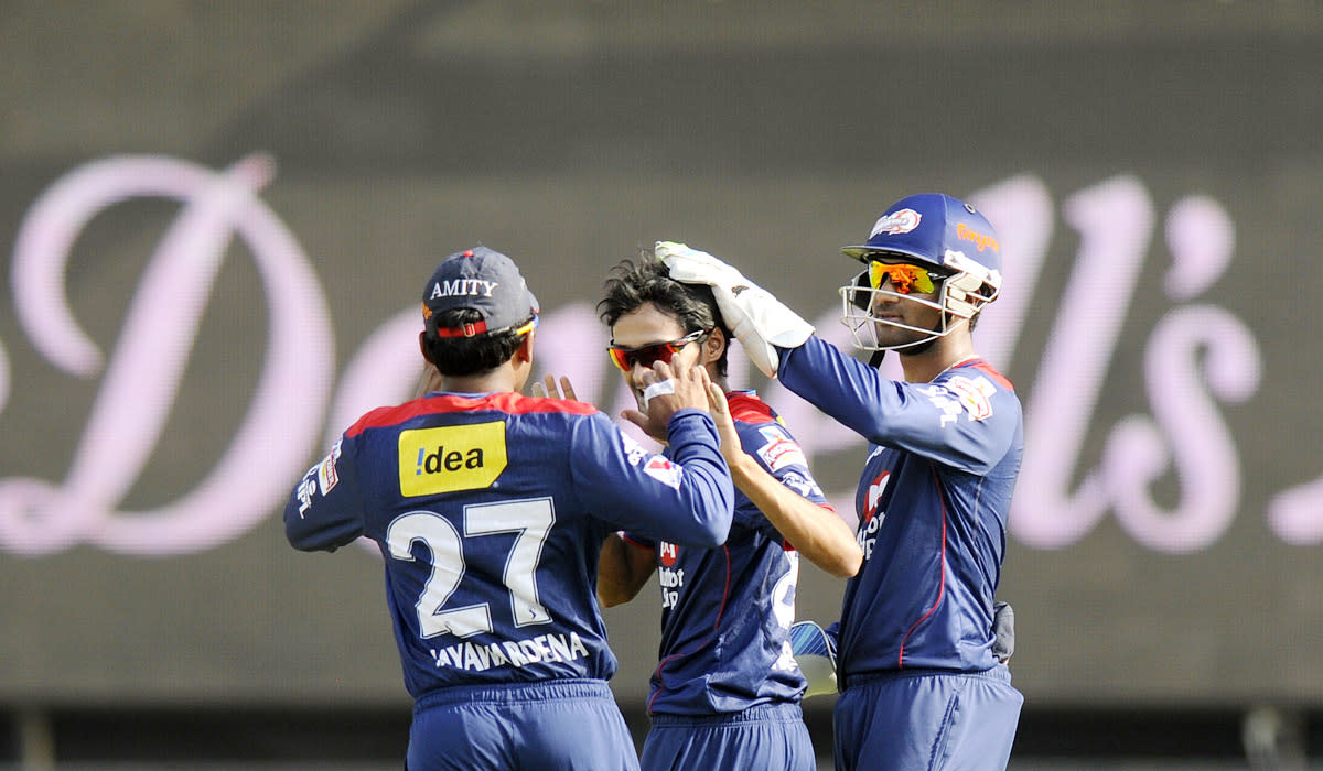 Shahbaz Nadeem of Delhi Daredevils celebrates the wicket of Manish Pandey of Pune Warriors during match 71 of the Pepsi Indian Premier League ( IPL) 2013  between The Pune Warriors India and the Delhi Daredevils held at the Subrata Roy Sahara Stadium, Pune on the 19th May 2013.(BCCI)
