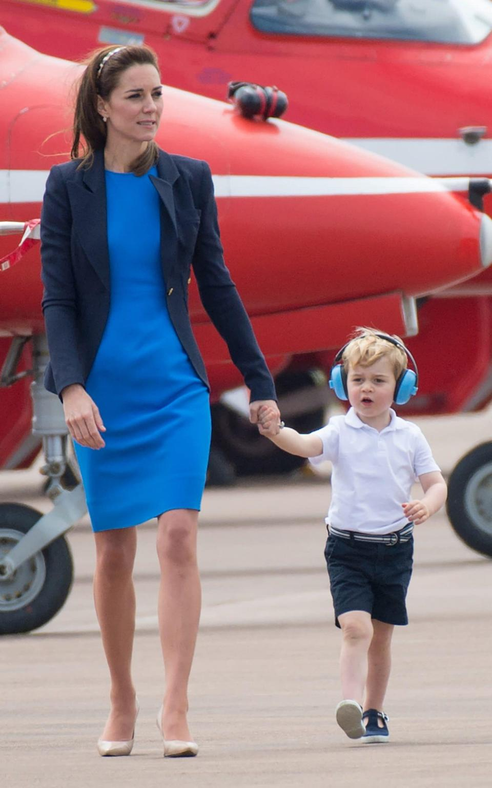 Duchess of Cambridge and Prince George of Cambridge attend the The Royal International Air Tattoo - Corbis