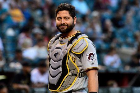 FILE PHOTO: May 13, 2019; Phoenix, AZ, USA; Pittsburgh Pirates catcher Francisco Cervelli (29) looks on during the first inning against the Arizona Diamondbacks t Chase Field. Mandatory Credit: Matt Kartozian-USA TODAY Sports