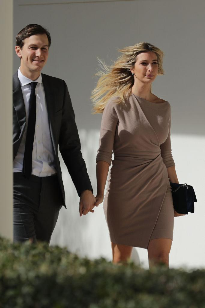 <p>She wore a nude dress with three-quarter sleeves while walking with her husband Jared Kushner to a news conference with President Donald Trump and Japanese Prime Minister Shinzo Abe on Feb. 10, 2017, at the White House. (Photo: AP Images) </p>