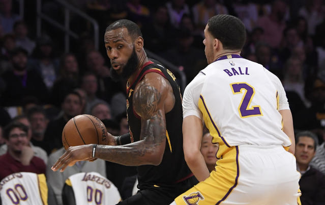 LeBron James showed off some excellent court vision Sunday night. (AP Photo)