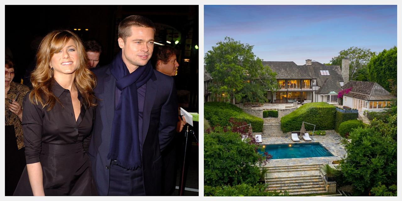 """<p>Brad Pitt and Jennifer Aniston may have officially parted ways in October 2005, but the stars are still making headlines. The <a href=""""https://www.hiltonhyland.com/property/1026-ridgedale-dr-beverly-hills-ca-90210-us/"""" target=""""_blank"""">Beverly Hills mansion</a> they owned from 2001 to 2006 is now on sale for $44.5 million. It ended up being sold to a hedge fund executive in 2006, but now it's back on the market with Susan Smith of Hilton & Hyland, Beverly Hills. <br><br>After their Malibu wedding, Pitt and Aniston took on a three-year renovation process, which involved upgrading the kitchen floor with heated marble, designing a screening room, and installing a bar with flooring from a 200-year-old French château. They even chose to add a tennis court and a guest house. In addition to these standout features, the French Normandy Revival-style estate includes five bedrooms and 13 bathrooms, as well as an outdoor space with a swimming pool.   <br><br>Scroll down for a look at the <a href=""""https://www.toptenrealestatedeals.com/weekly-ten-best-home-deals/home/brad-jens-newlywed-mansion-for-sale"""" target=""""_blank"""">11,173-square-foot gated property</a> Pitt and Aniston once called home. </p>"""