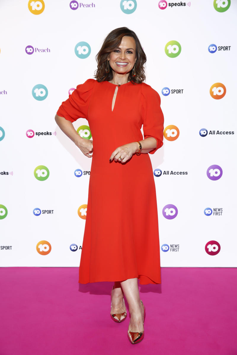 Lisa Wilkinson wears a red dress to the Network 10 Melbourne Upfronts 2020 on October 11, 2019 in Melbourne, Australia.
