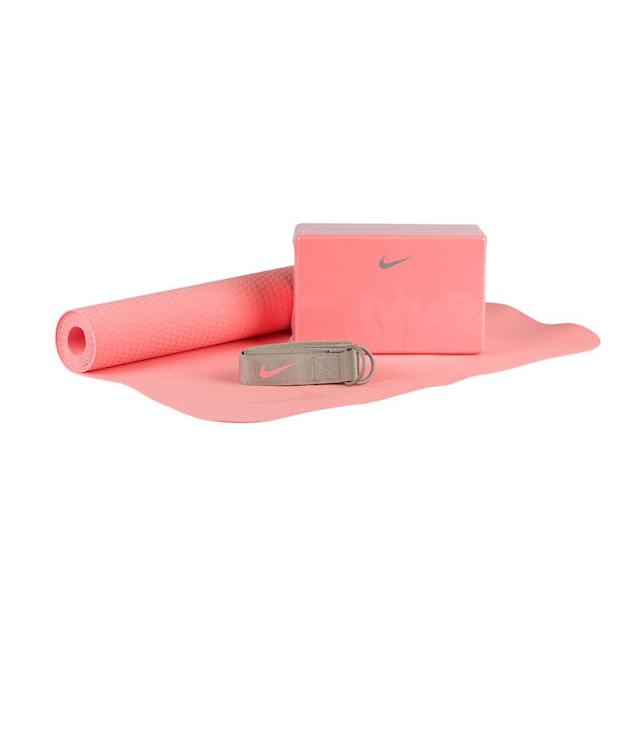 "<p>Essential Yoga Kit, $25, <a href=""http://www.ladyfootlocker.com/product/model:221547/sku:NYE13610&SID=7393&inceptor=1&cm_mmc=SEM-_-PLA-_-Google-_-nye13610&gclid=COuEi-aszdQCFRhXDQodgUQO8w"" rel=""nofollow noopener"" target=""_blank"" data-ylk=""slk:ladyfootlocker.com"" class=""link rapid-noclick-resp"">ladyfootlocker.com</a> </p>"