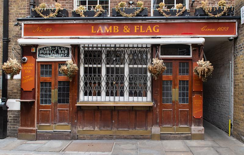 General view of the shuttered Lamb and Flag pub, in Covent Garden, London, as pubs and bars remain closed even as further coronavirus lockdown restrictions are lifted in England.