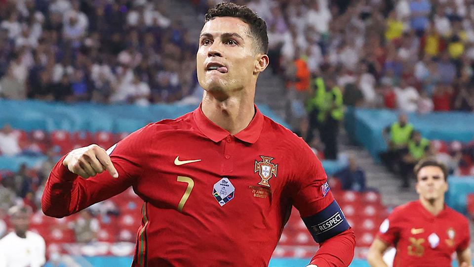Cristiano Ronaldo is seen here celebrating after scoring from the penalty spot against France.