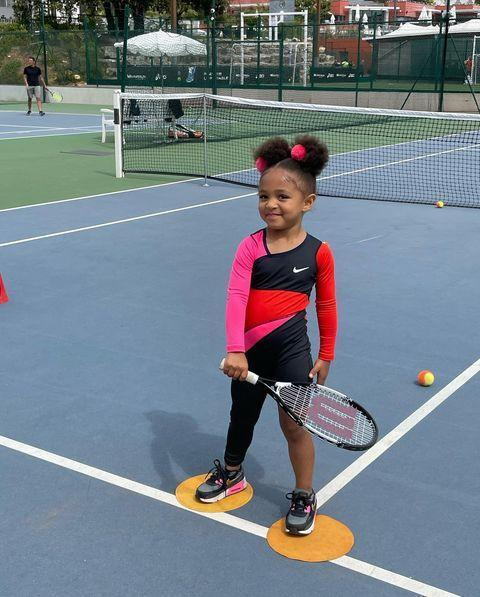 """<p>Given the tennis greatness that runs through little Olympia's genes, thanks to her mother and aunt, it's no surprise that at three years old she's already on the court.</p><p>Making this snap even more adorable is that the Nike jumpsuit she's wearing in the most recent photo uploaded to her very own Instagram account is a replica of one<a href=""""https://www.nytimes.com/2021/02/17/style/serena-williams-catsuit-australian-open.html"""" rel=""""nofollow noopener"""" target=""""_blank"""" data-ylk=""""slk:her mother wore when competing at the Australian Open"""" class=""""link rapid-noclick-resp""""> her mother wore when competing at the Australian Open </a>earlier this year. </p><p><a href=""""https://www.instagram.com/p/CP6ijyuJ4WK/"""" rel=""""nofollow noopener"""" target=""""_blank"""" data-ylk=""""slk:See the original post on Instagram"""" class=""""link rapid-noclick-resp"""">See the original post on Instagram</a></p>"""