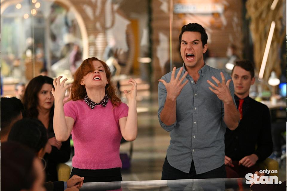 Zoey (Jane Levy) and Max (Skylar Astin) begin to realise that perhaps Metallica wasn't the best choice for karaoke night. Photo: Stan