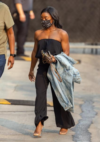 """Simone Biles on her way to """"Jimmy Kimmel Live"""" on Sept. 23. - Credit: RB/Bauergriffin.com / MEGA"""