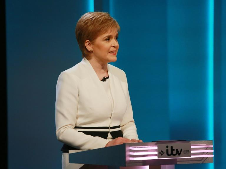This picture released by ITV shows Scottish First Minister and Leader of the SNP Nicola Sturgeon, speaking as she represents the 'Remain' campaign during The ITV Referendum Debate in London on June 9, 2016