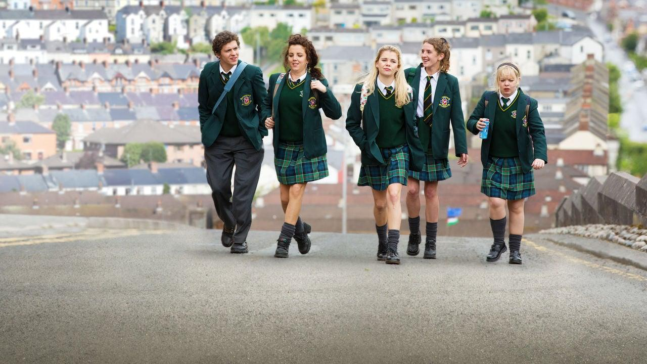 "<p>Taking place in early-1990s Northern Ireland during the Troubles, this comedy series follows 16-year-old Erin and her friends as they navigate their adolescence amid the country's political unrest. Though you think the setting might make the show a bit morose, the talented young cast and the funny trials they face in their Catholic girls' secondary school make the show surprisingly lighthearted. Goods news: the second season is just as good as the first.</p> <p><a href=""http://www.netflix.com/title/80238565"" target=""_blank"" class=""ga-track"" data-ga-category=""Related"" data-ga-label=""http://www.netflix.com/title/80238565"" data-ga-action=""In-Line Links"">Watch <strong>Derry Girls</strong> on Netflix</a>.</p>"
