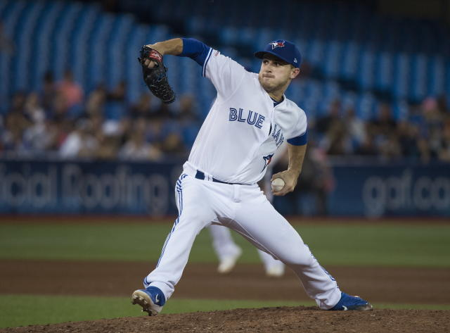 Toronto Blue Jays pitcher Thomas Pannone works against the Texas Rangers during the sixth inning of a baseball game, Tuesday Aug. 13, 2019 in Toronto. (Nathan Denette/The Canadian Press via AP)