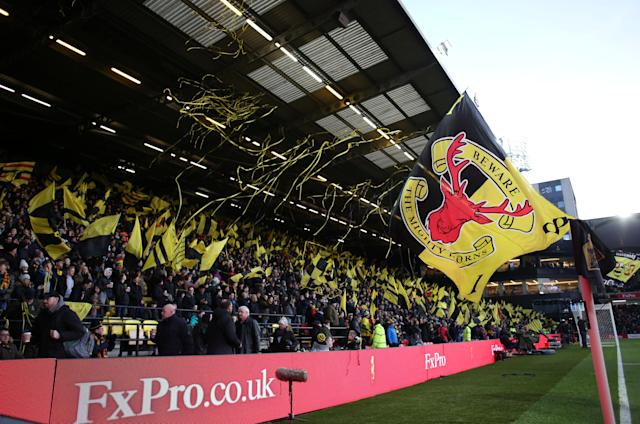 """Soccer Football - Premier League - Watford vs Everton - Vicarage Road, Watford, Britain - February 24, 2018 Watford fans before the match REUTERS/David Klein EDITORIAL USE ONLY. No use with unauthorized audio, video, data, fixture lists, club/league logos or """"live"""" services. Online in-match use limited to 75 images, no video emulation. No use in betting, games or single club/league/player publications. Please contact your account representative for further details."""