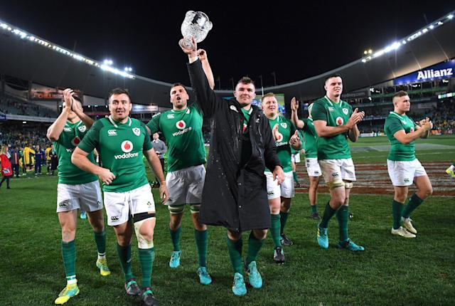 Rugby Union - June Internationals - Australia vs Ireland - Sydney Football Stadium, Sydney, Australia - June 23, 2018 - Peter O'Mahony of Ireland holds aloft the trophy as he celebrates with teammates after winning the series. AAP/David Moir/via REUTERS ATTENTION EDITORS - THIS IMAGE WAS PROVIDED BY A THIRD PARTY. NO RESALES. NO ARCHIVE. AUSTRALIA OUT. NEW ZEALAND OUT.