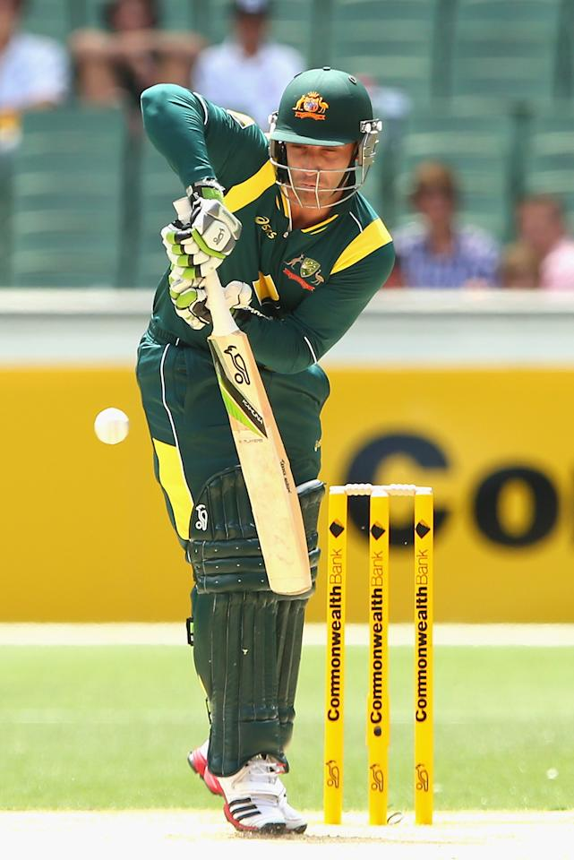 MELBOURNE, AUSTRALIA - JANUARY 11:  Phillip Hughes of Australia bats during game one of the Commonwealth Bank One Day International series between Australia and Sri Lanka at the Melbourne Cricket Ground on January 11, 2013 in Melbourne, Australia.  (Photo by Quinn Rooney/Getty Images)
