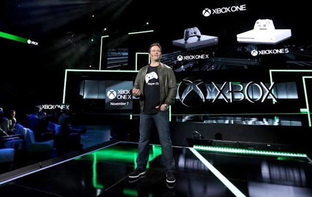 Microsoft unveils the Xbox One X at the annual E3 gaming convention in Los Angeles, California on June 12.