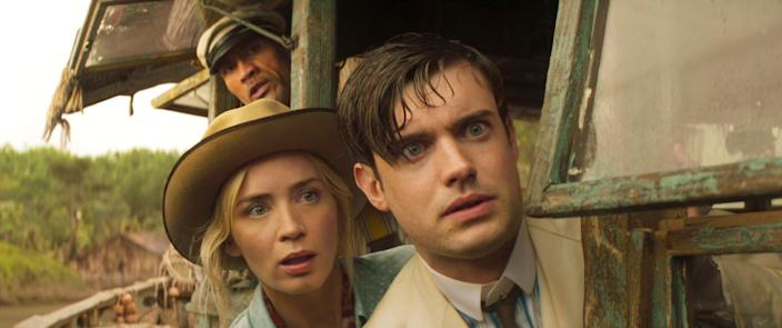 """Siblings Lily (Emily Blunt) and MacGregor Houghton (Jack Whitehall) face all manner of crazy danger alongside skipper Frank Wolff (Dwayne Johnson) in """"Jungle Cruise."""""""