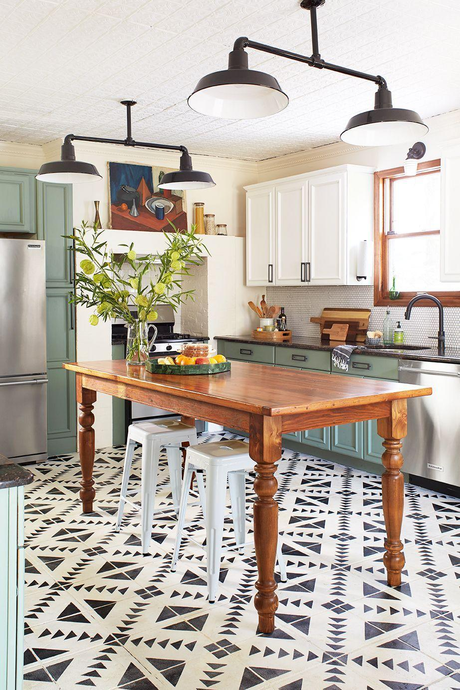 <p>Chalk Paint® on the kitchen cabinets and floors creates a charming look in this contemporary farmhouse kitchen by interior designer Jessica Davis.</p>