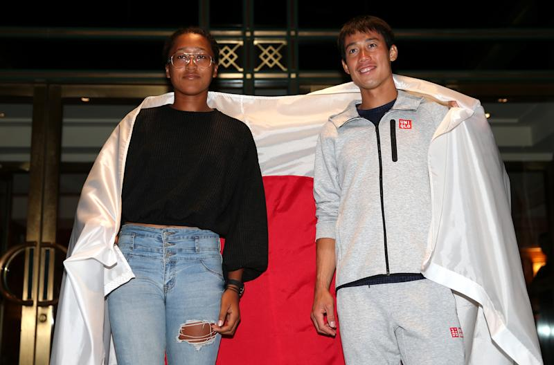 NEW YORK, NY - SEPTEMBER 05: Men's singles semi-finalist Kei Nishikori of Japan and women's singles semi-finalist Naomi Osaka of Japan pose for a portrait outside The Kitano Hotel following their quarter-final matches on day 10 of the 2018 US Open at The Kitano Hotel on September 5, 2018 in New York City. (Photo by Alex Pantling/Getty Images)