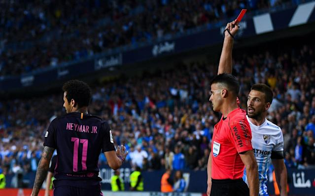 Neymar is shown red during the weekend defeat at Malaga - Getty Images Europe