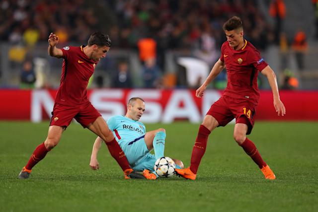 "Andres Iniesta and Barcelona were knocked out of the Champions League by <a class=""link rapid-noclick-resp"" href=""/soccer/teams/roma/"" data-ylk=""slk:Roma"">Roma</a>. (Getty)"