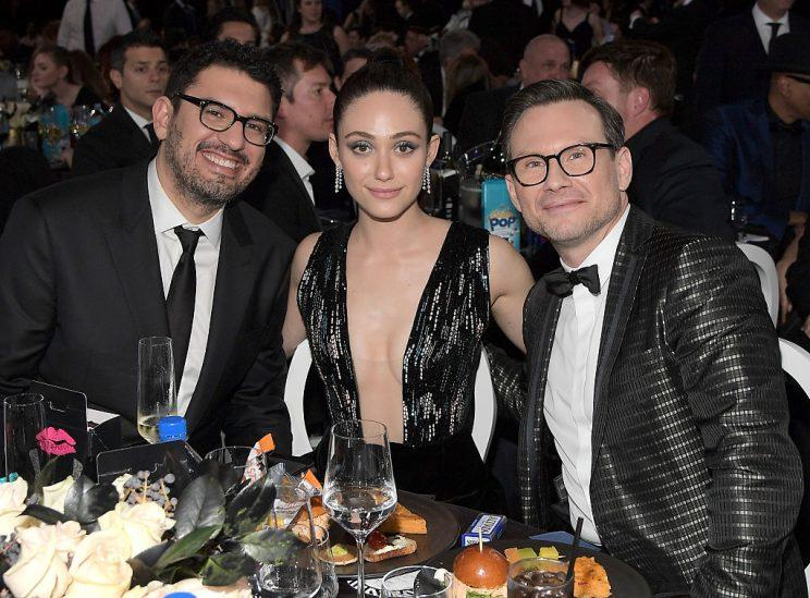 Christian Slater with Sam Esmail and Emmy Rossum at the Critics' Choice Awards in December. (Photo: Charley Gallay/Getty Images for FIJI Water)