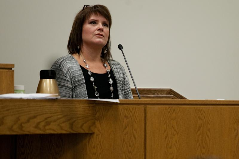 Anna Walthall, a former mistress of Martin MacNeill, testifies during his trial at the Fourth District Court in Provo Wednesday, Oct. 30, 2013. MacNeill is charged with murder for allegedly killing his wife Michele MacNeill in 2007. (AP Photo/Daily Herald, Mark Johnston, Pool)