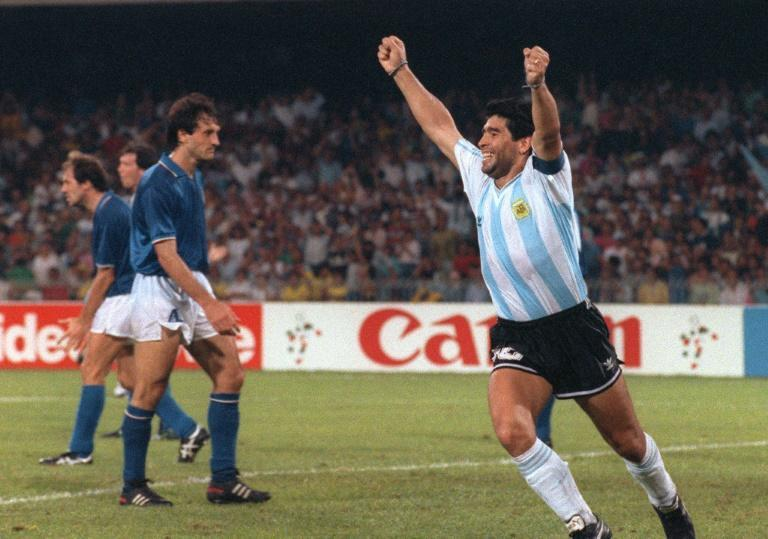 Diego Maradona celebrates Argentina's goal against Italy in the 1990 World Cup semi-final