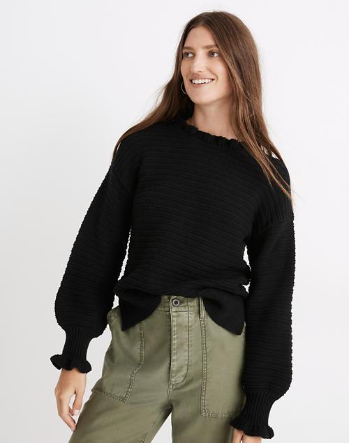 """<br><br><strong>Madewell</strong> Ruffle-Neck Pullover Sweater in Cotton-Merino Yarn, $, available at <a href=""""https://go.skimresources.com/?id=30283X879131&url=https%3A%2F%2Fwww.madewell.com%2Fruffle-neck-pullover-sweater-in-cotton-merino-yarn-AG587.html"""" rel=""""nofollow noopener"""" target=""""_blank"""" data-ylk=""""slk:Madewell"""" class=""""link rapid-noclick-resp"""">Madewell</a>"""