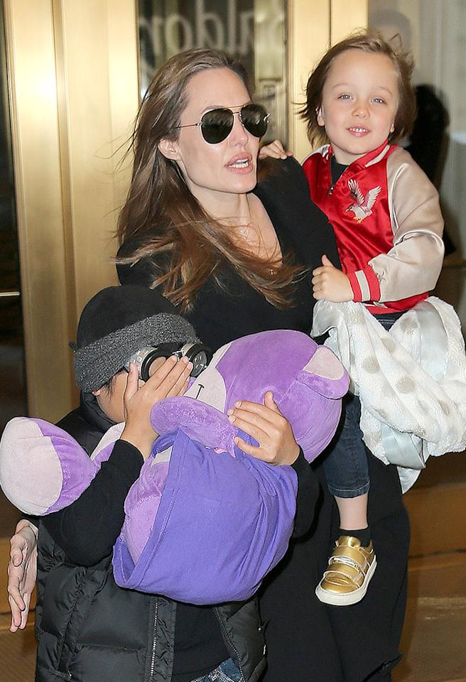 Angelina Jolie takes Knox and Pax to FAO Schwarz in NYC.