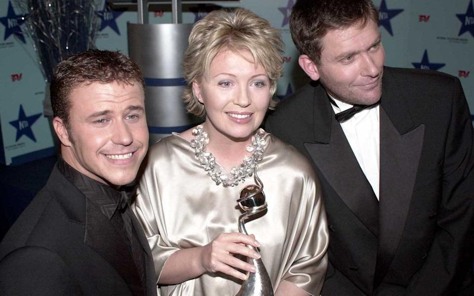 Craig Phillips and Nick Bateman with Kirsty Young at the National Television Awards in 2000 - Geoff Pugh