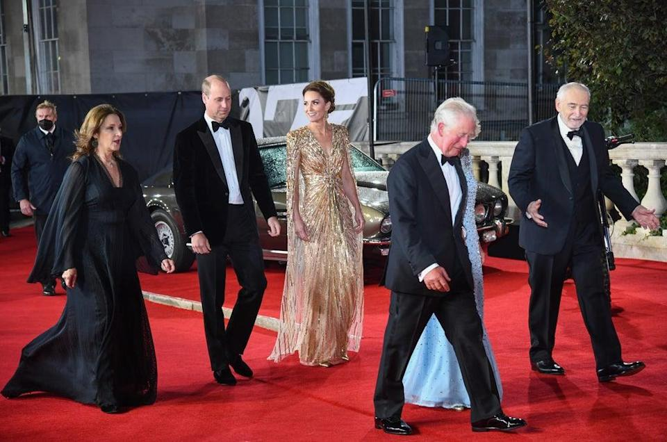 Barbara Broccoli, the Duke and Duchess of Cambridge, Prince Charles, the Duchess of Cornwall, and Michael G Wilson (Gareth Cattermole/Getty Images)