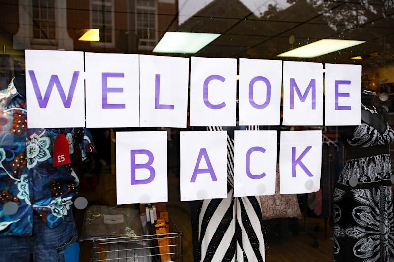A general view of a 'welcome back' sign in the window of a charity shop in Worthing, Sussex, as the UK continues to introduce measures to gradually bring the country out of the coronavirus lockdown.