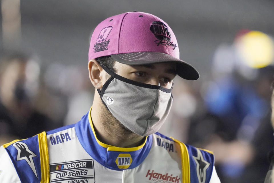 Chase Elliott on pit road before NASCAR Daytona 500 auto race qualifying at Daytona International Speedway, Wednesday, Feb. 10, 2021, in Daytona Beach, Fla. (AP Photo/John Raoux)