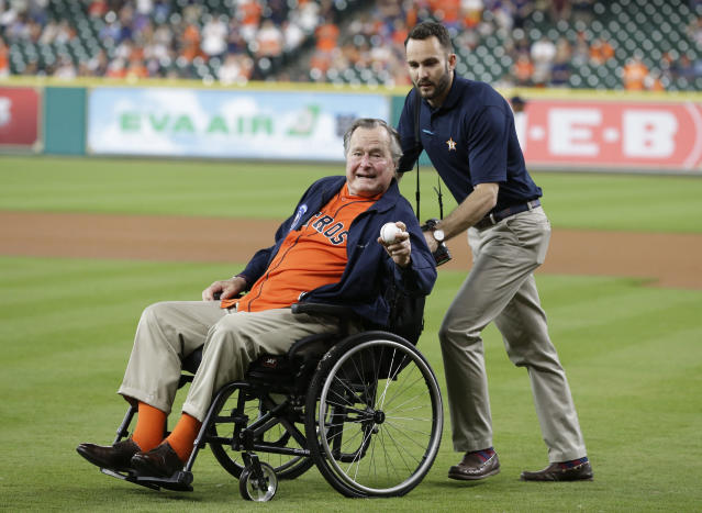 Former president George H.W. Bush threw out a first pitch at an Astros game in 2016. (AP Photo)