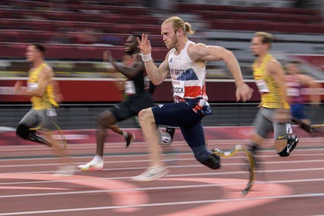 Jonnie Peacock during the men's 100m – T64 final