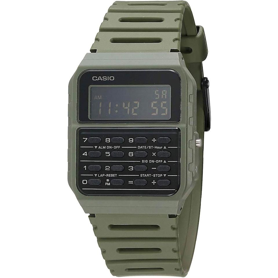 """<p><strong>Casio</strong></p><p>amazon.com</p><p><strong>$21.91</strong></p><p><a href=""""https://www.amazon.com/dp/B083VY2YQM?tag=syn-yahoo-20&ascsubtag=%5Bartid%7C10054.g.35351418%5Bsrc%7Cyahoo-us"""" rel=""""nofollow noopener"""" target=""""_blank"""" data-ylk=""""slk:Shop Now"""" class=""""link rapid-noclick-resp"""">Shop Now</a></p><p>Tired: using the calculator on your phone.</p><p>Wired: using the calculator on your <em>watch</em>.</p>"""