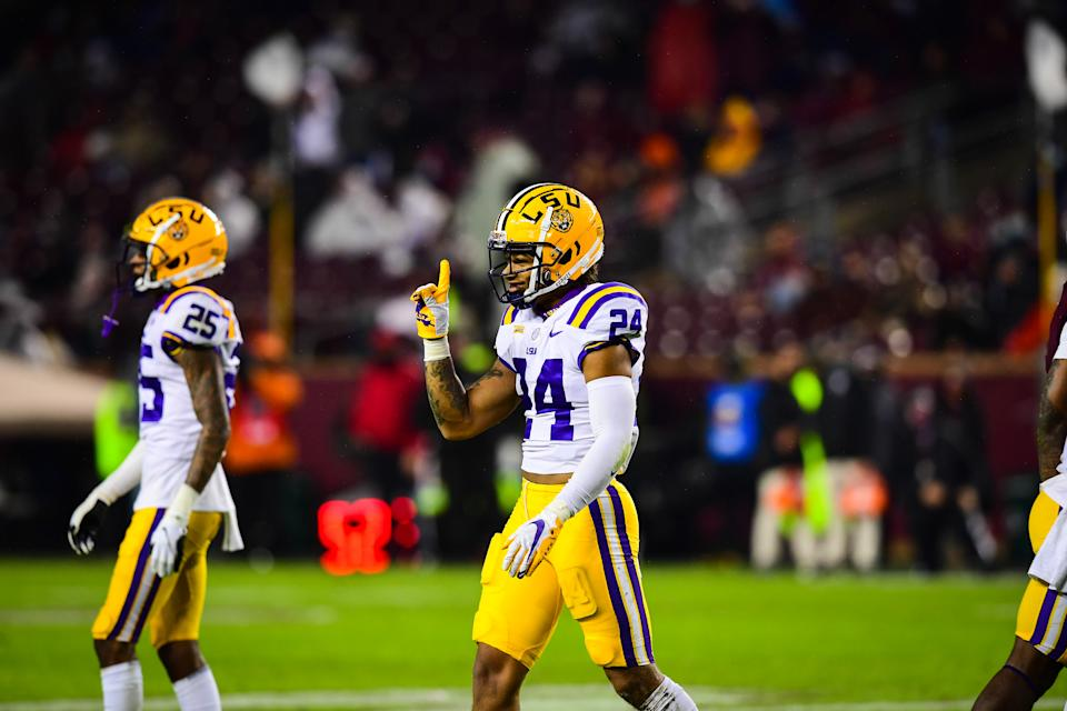 COLLEGE STATION, TX - NOVEMBER 28: Derek Stingley Jr. #24 of the LSU Tigers reacts after a play against the Texas A&M Aggies at Kyle Field on November 28, 2020 in College Station, Texas. (Photo by Chris Parent/Collegiate Images/Getty Images)