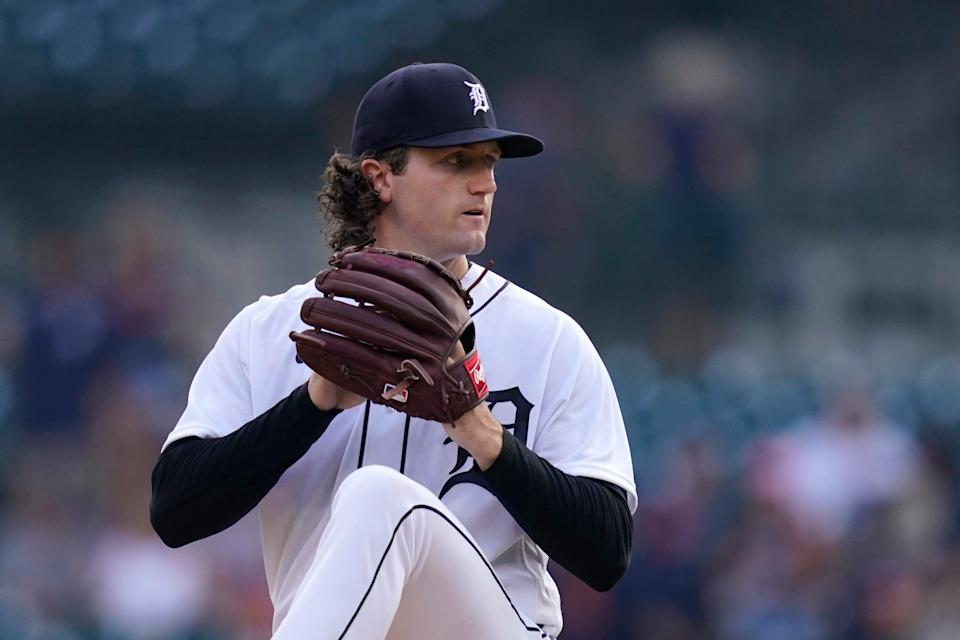 Tigers pitcher Casey Mize throws during the first inning against the Orioles on Thursday, July 29, 2021, at Comerica Park.