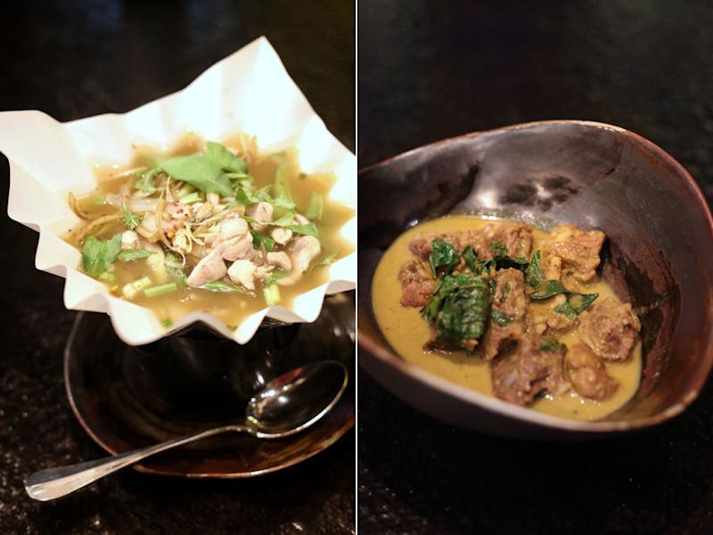 Creamy 'tom kha gai' soup served in a fireproof paper vessel (left) and 'gaeng nue yang bai chaplu' or beef yellow curry (right).