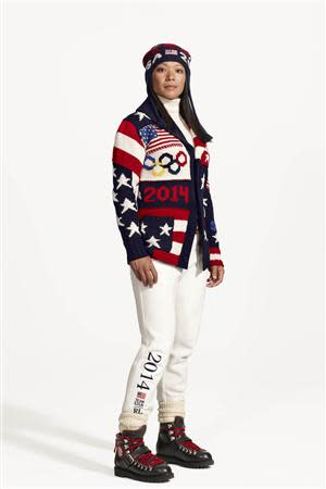 Julie Chu, U.S. Olympic ice hockey player on the United States women's ice hockey team is shown wearing the Official Opening Ceremony Parade Uniforms for the 2014 Winter Olympic Games in this photo released on January 23, 2014. REUTERS/Ralph Lauren/Handout