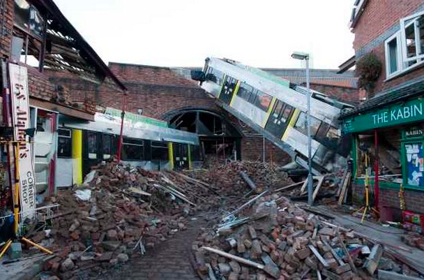 The aftermath of the tram crash (c) ITV