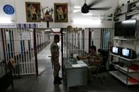 Guards stand in the long-term sentence zone inside Klong Prem high-security prison in Bangkok, Thailand July 12, 2016. REUTERS/Jorge Silva