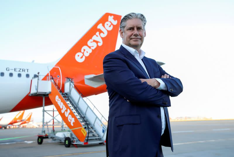 FILE PHOTO: EasyJet CEO Johan Lundgren poses in front of an aircraft of the company at Gatwick Airport, in Gatwick