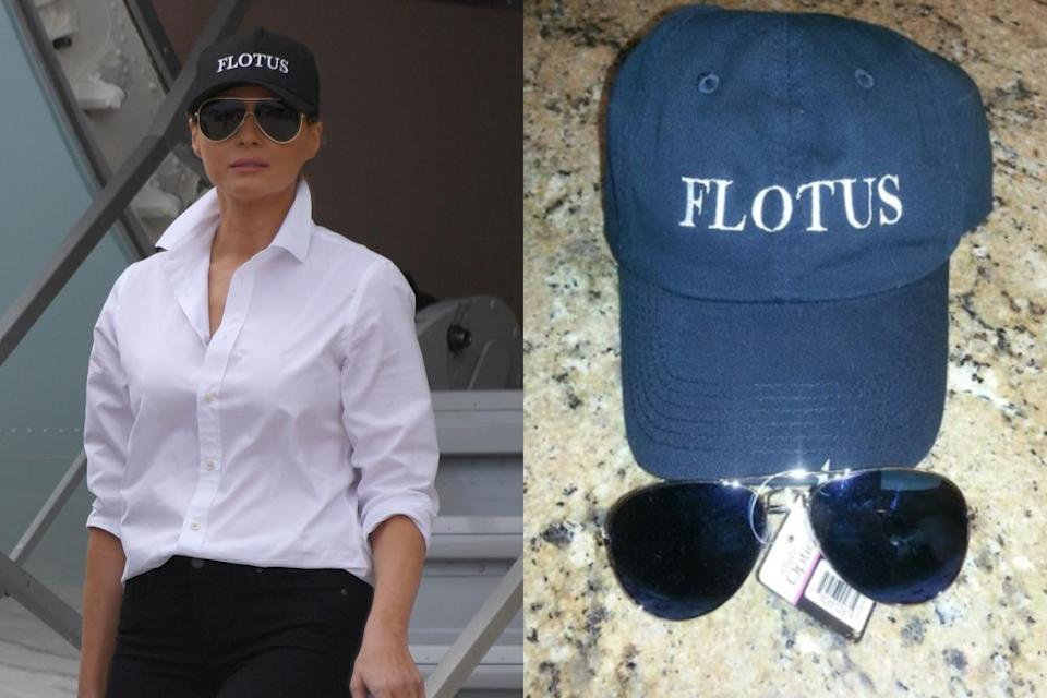 Throw on a FLOTUS hat with some aviators for the perfect Trump look. (Photo: Getty Images/eBay)