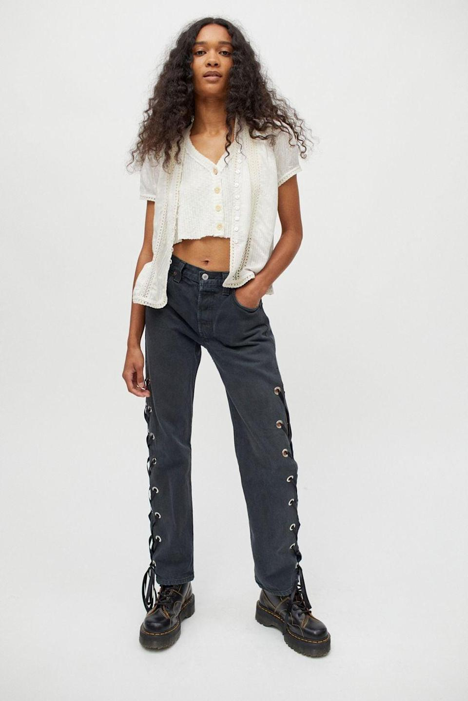 <p>Urban Outfitters's in-house reworked program Urban Renewal churns out pants that are one-of-a-kind, like these <span>Recycled Levi's Side Lace-Up Jeans</span> ($119), which are a solid addition to your wardrobe for evenings out.</p>