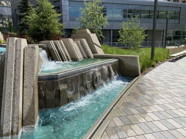 Some of the brutalist waterfalls that were preserved in the park revamp.  (City of Calgary  - image credit)