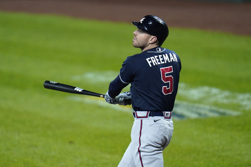 Atlanta Braves' Freddie Freeman watches a foul ball he hit against the Baltimore Orioles during the sixth inning of a baseball game, Wednesday, Sept. 16, 2020, in Baltimore. (AP Photo/Julio Cortez)