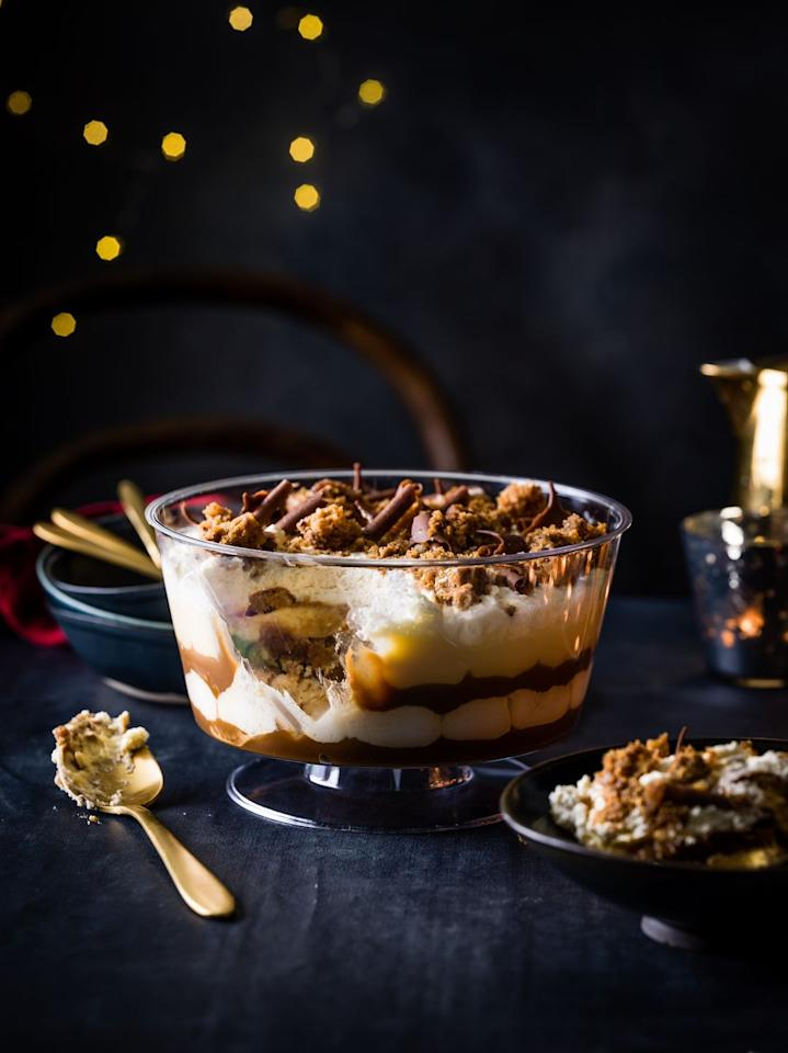 <p>Set to be a crowd-pleaser, M&S has made this trifle with layers of rich toffee sauce, sticky toffee sponge, custard and fresh whipped cream. </p><p><strong>M&S says:</strong> 'The trifle that even non-trifle lovers will devour! Combining two all-time family favourite desserts to create an extra-special trifle with the flavours and crunch of a decadent sticky toffee pudding.'</p>